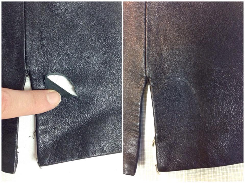 Ремонт пореза на кожаной куртке клеем