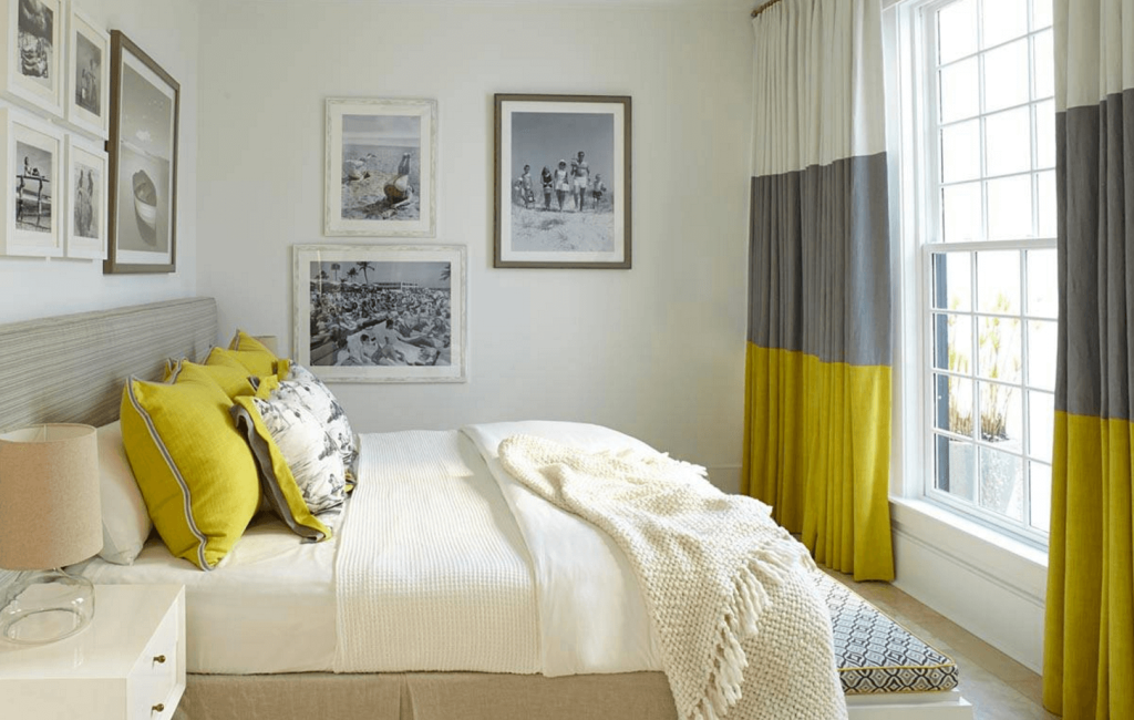 Шторы Color Block в спальне