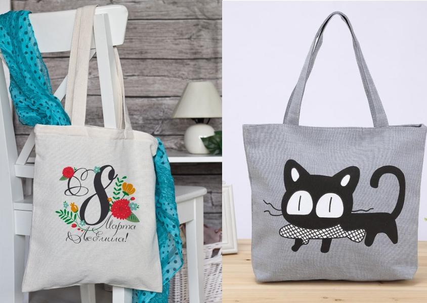 Тканевые сумки к 8 Марта в подарок девочкам