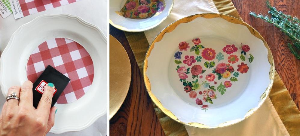 Декупаж тарелки на 14 февраля