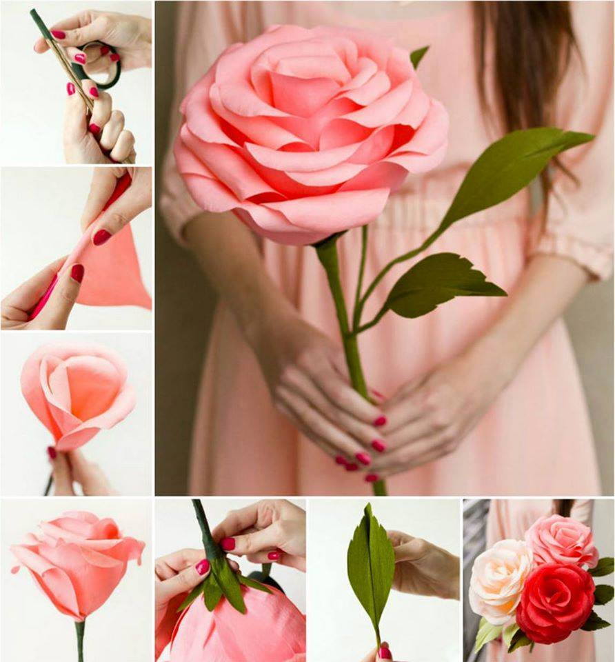 Как сделать большой цветок из бумаги своими руками
