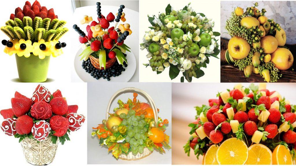 Красивые букеты из фруктов и ягод