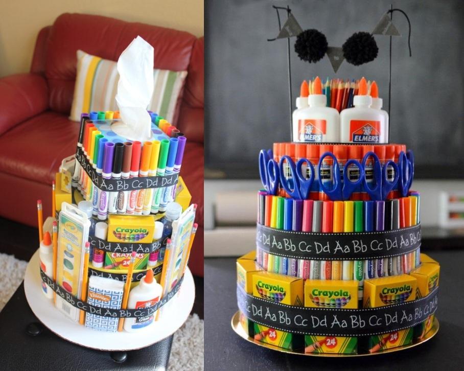 Торт из канцелярских принадлежностей для учителя