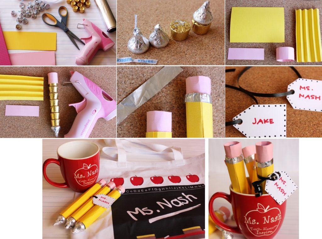 Кружка с карандашами из конфет учителю в подарок