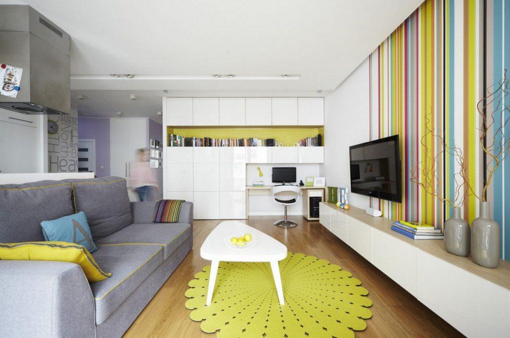 Яркие цвета – великолепный вариант для Вашей квартиры-студии