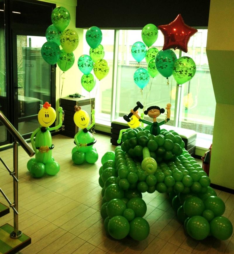 Оформление помещения воздушными шарами к 23 февраля