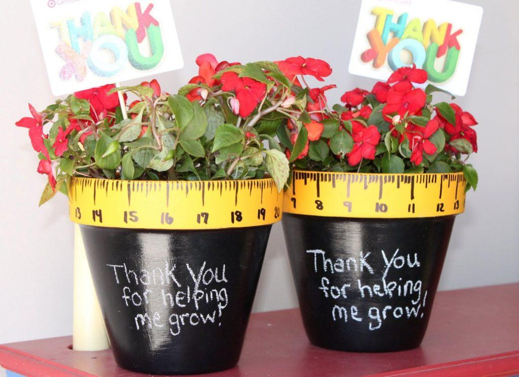 Цветы в горшке учителю с надписью