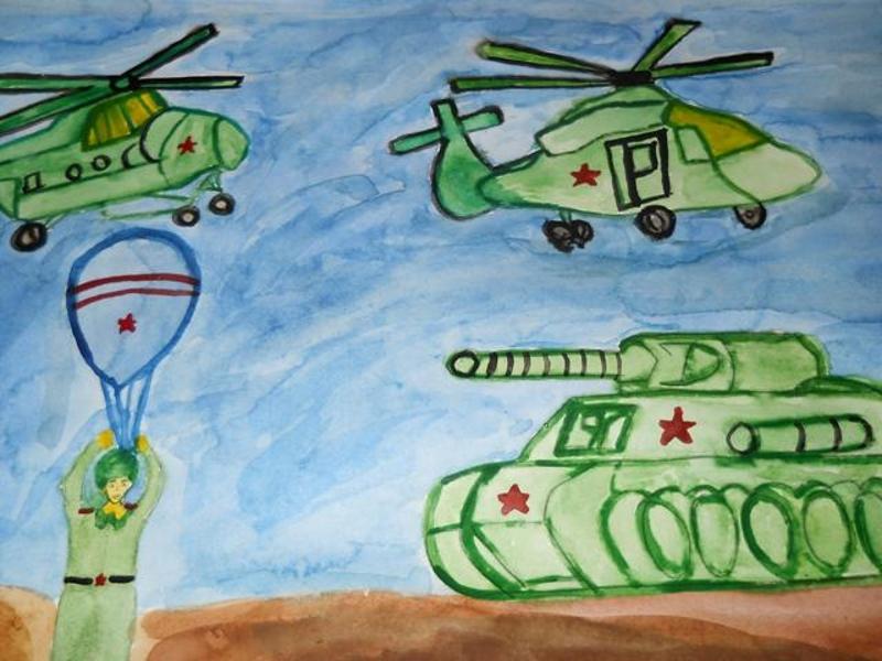 Детский рисунок с военной техникой и десантником