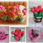 Фото 21: Сладкие букеты тюльпанов из конфет своими руками