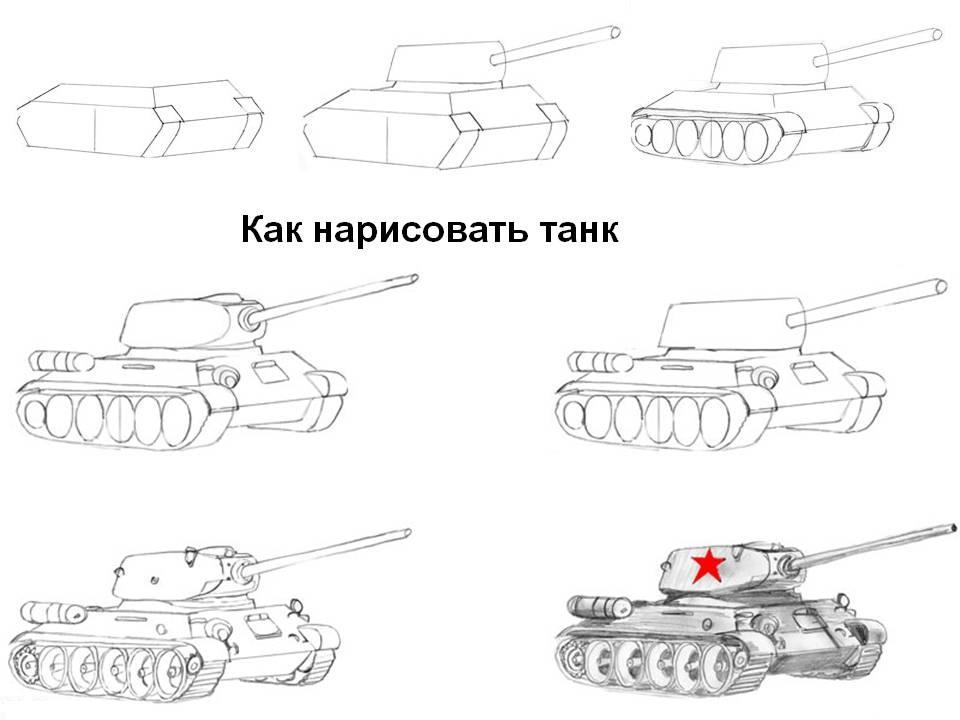 Как нарисовать танк карандашом поэтапно
