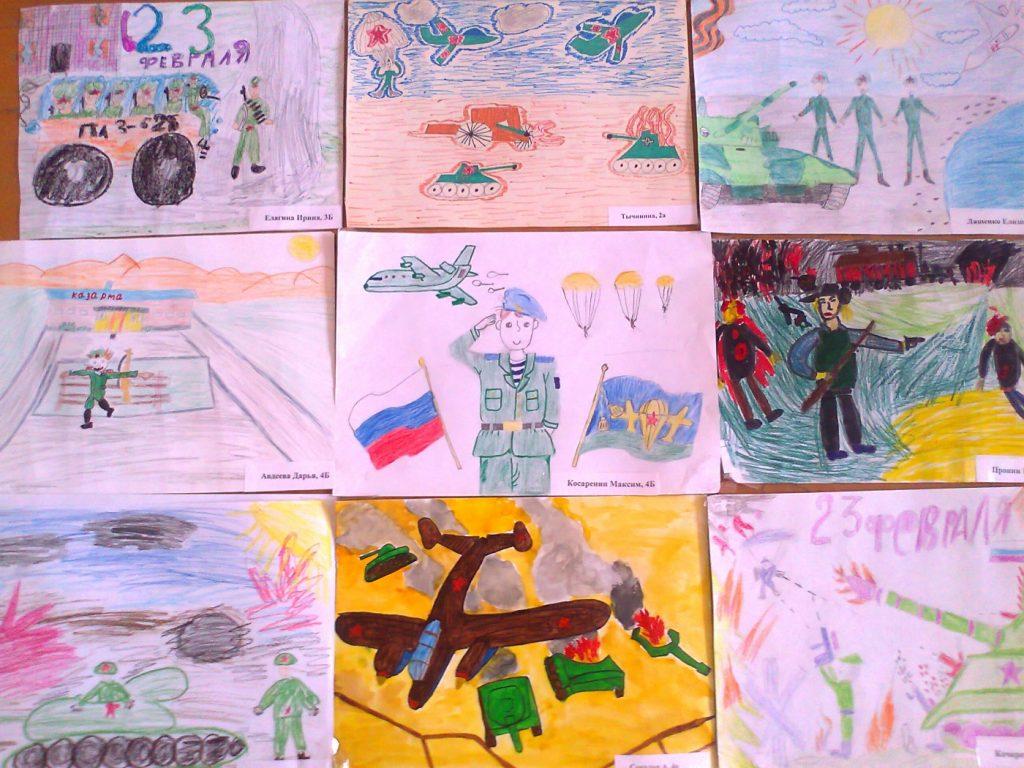 Выставка рисунков ко Дню Защитника Отечества в школе