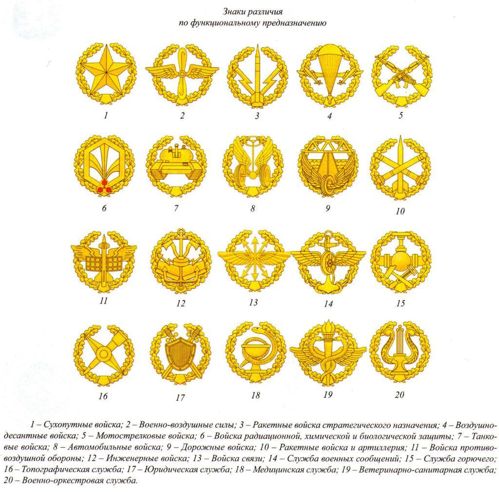 Какие знаки различия родов войск Российской федерации существуют