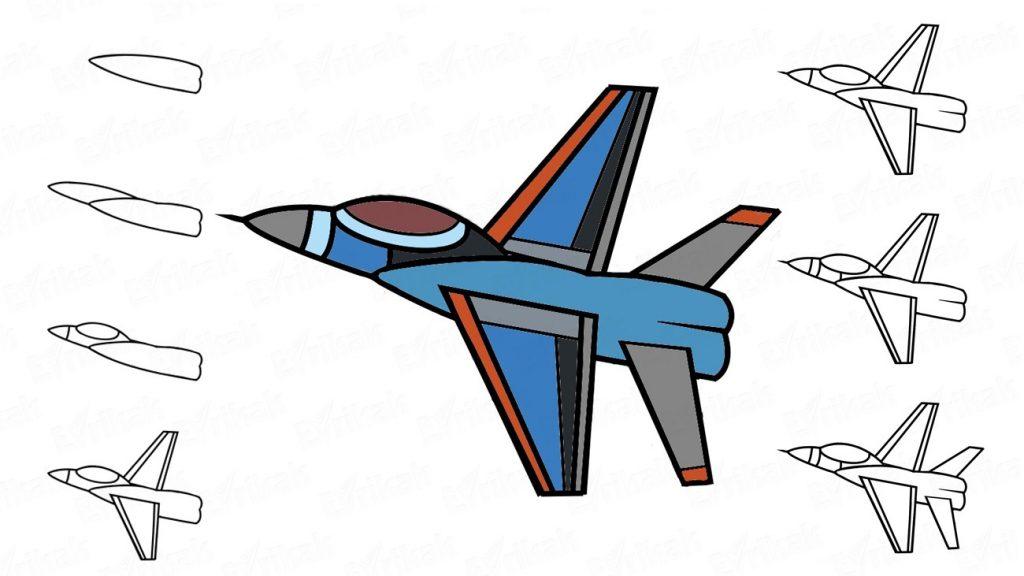 Нарисовать самолет на 23 февраля своими руками