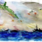 Фото 30: Рисунок морского сражения на 23 февраля акварелью
