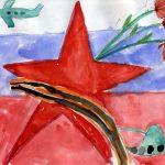 Фото 31: Рисунок с самолетом звездой и флагом на День Защитника Отечества