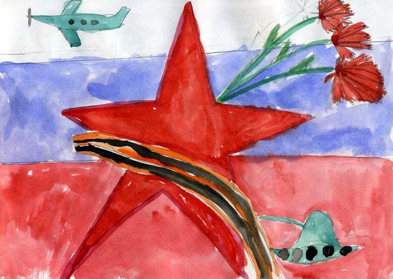 Рисунок с самолетом звездой и флагом на День Защитника Отечества
