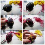 Фото 68: Декор пасхальных яиц нитками