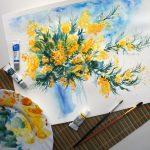Фото 31: Букет мимоз красками на 8 марта