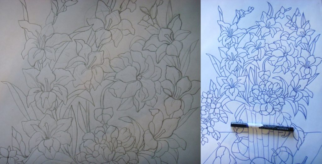 Цветочный эскиз под витраж своими руками