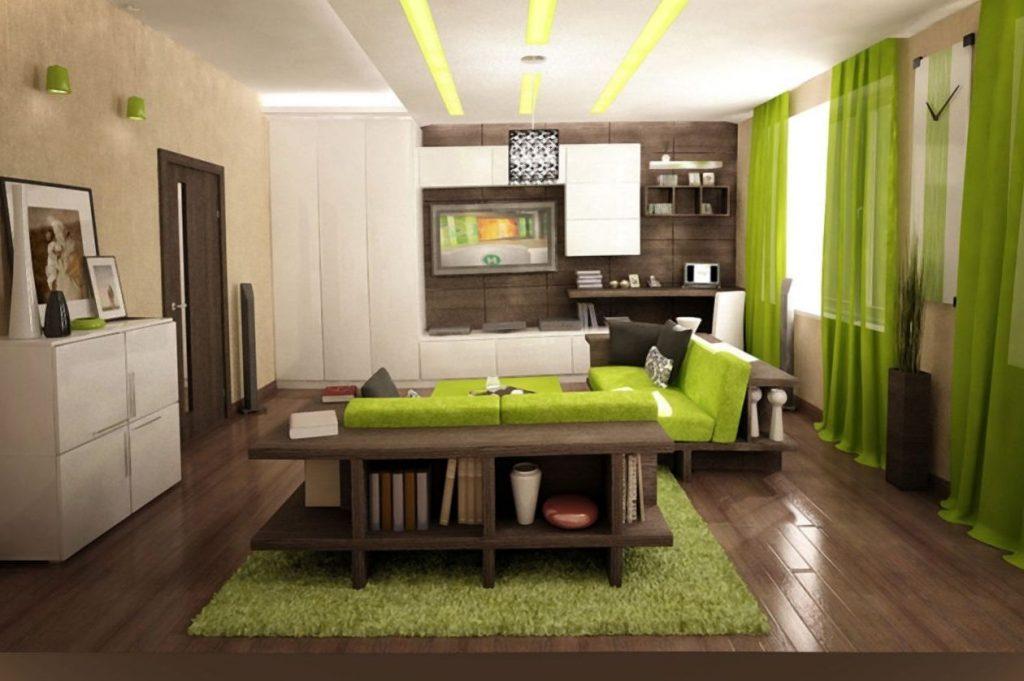 Зеленый ковер на полу в гостиной должен непременно гармонировать с цветовой гаммой всей комнаты