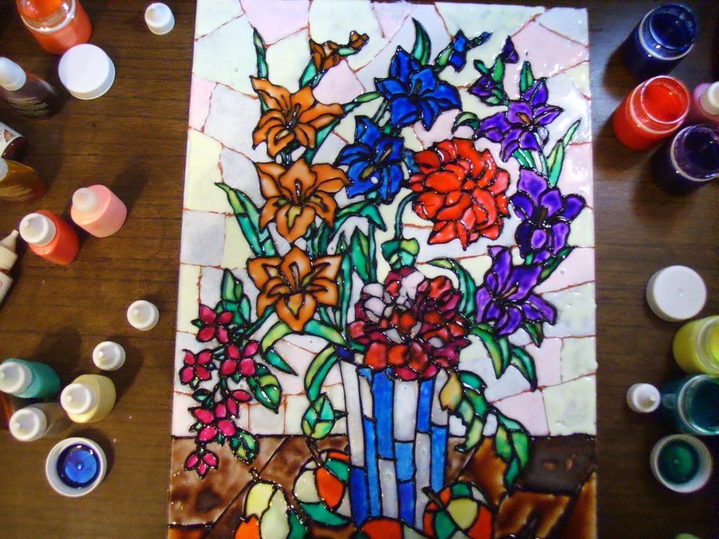 Заполнение детского витража цветными красками