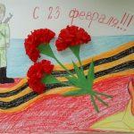 Фото 4: Аппликация из гвоздик и рисунок на День Защитника Отечества