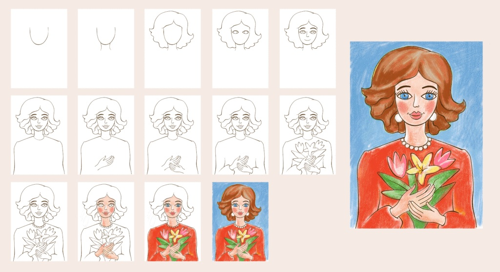 Нарисовать портрет мамы поэтапно