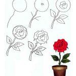 Фото 61: Нарисовать розу в горшке поэтапно
