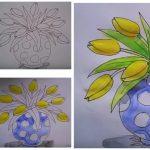 Фото 71: Нарисовать тюльпаны в вазе поэтапно