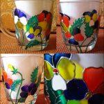 Фото 88: Витражный рисунок на стеклянной чашке на 8 марта