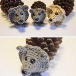 Фото 31: Ежики из шишек с вязаной мордочкой