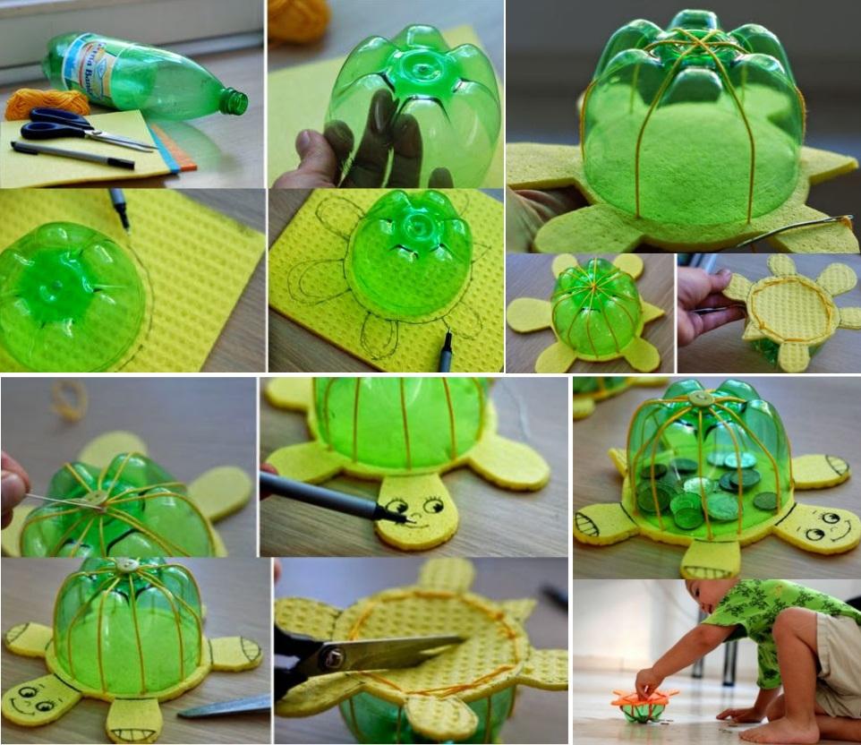 Черепаха из губки и бутылки