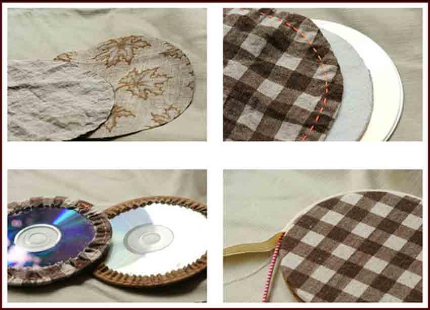 Подставки из дисков и ткани