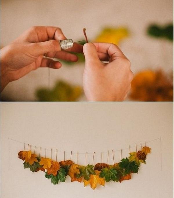 Создание гирлянды из листьев