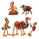 Фото 26: Верблюд, барашек и человечки из шишек