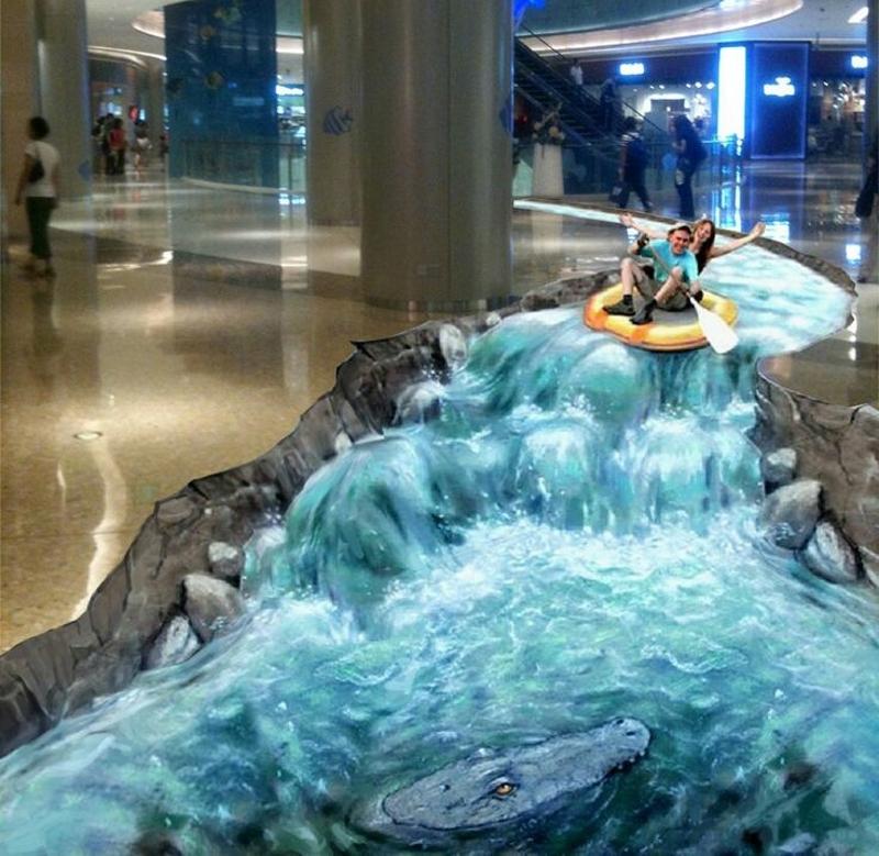 3Д эффект реки на наливном полу