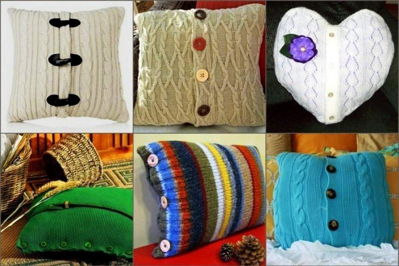 Вязаные подушки из свитеров