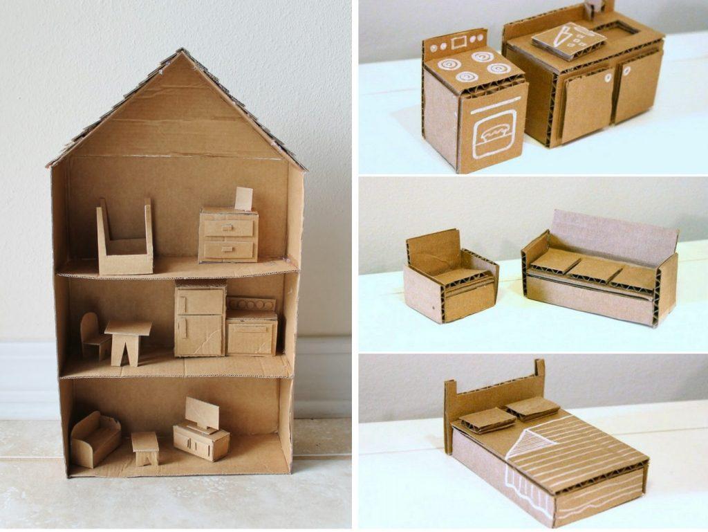 Мебель для кукольного домика из картона
