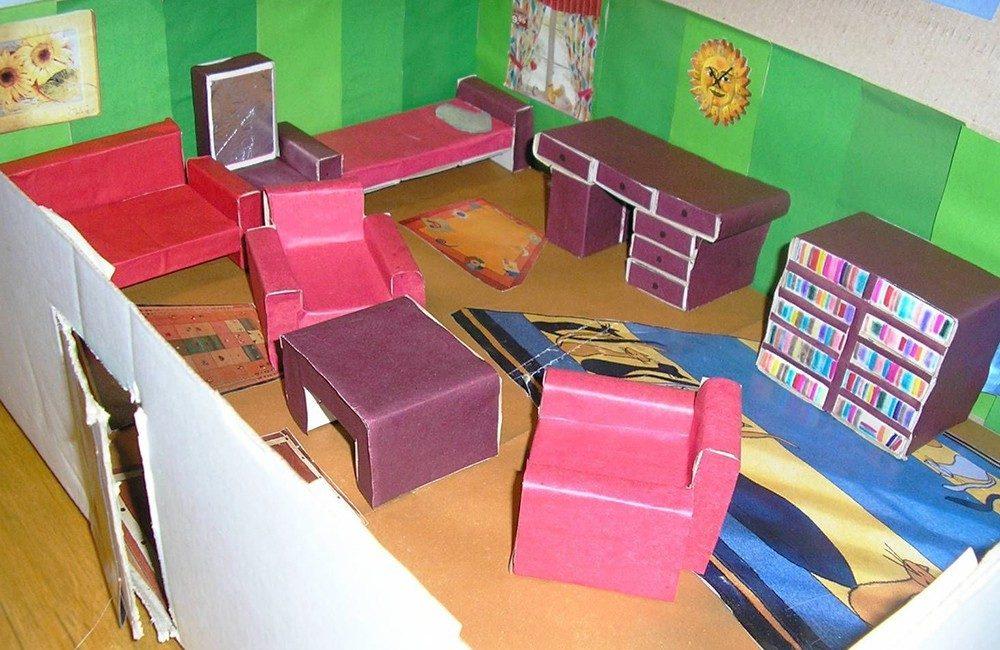 Мебель из коробков для кукол