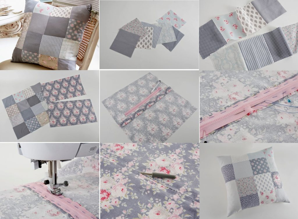 Этапы изготовления подушки в стиле пэчворк