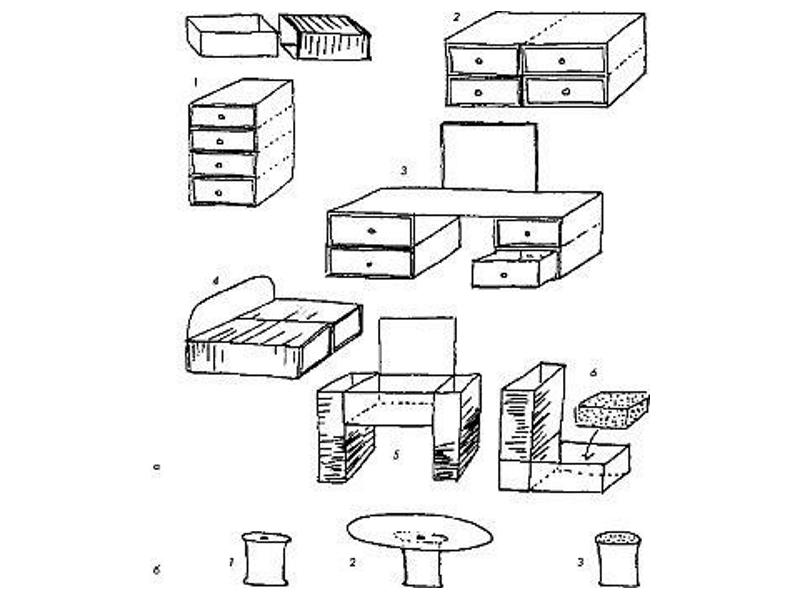 Схемы кукольной мебели из коробков