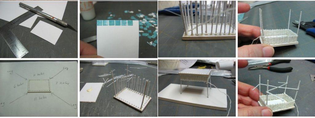изготовление журнального плетеного столика из бумаги