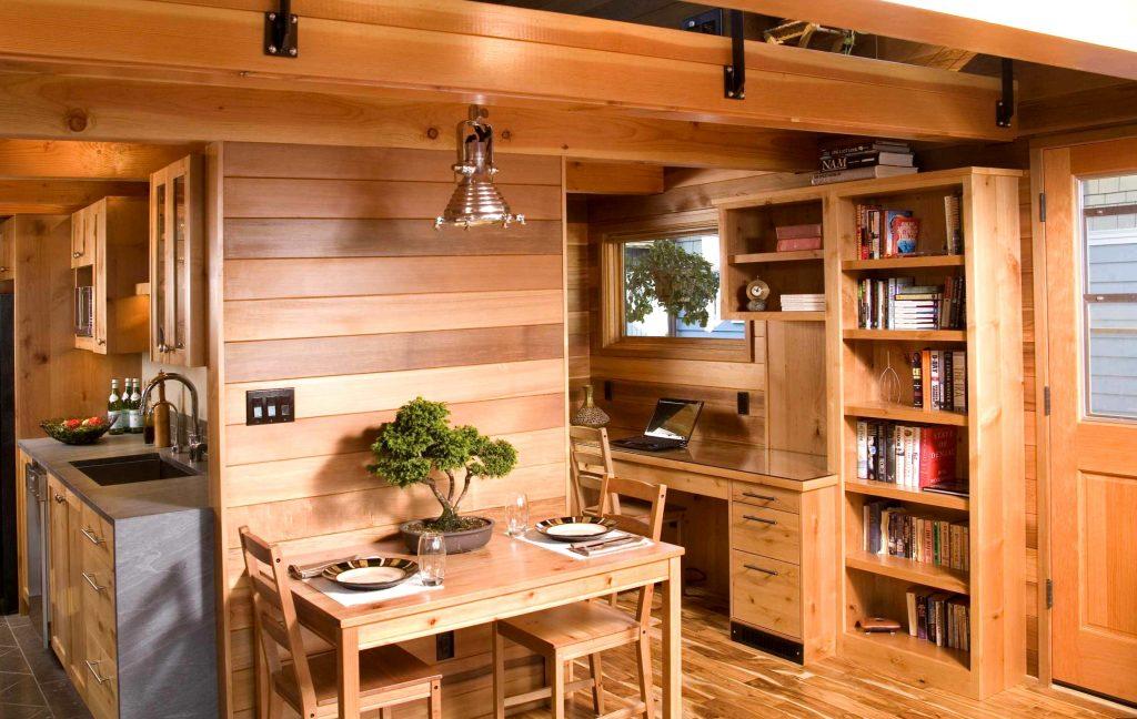 Деревянная вагонка на кухне