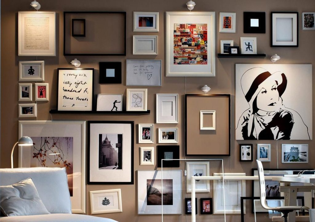 Дизайн оформления фото на стене