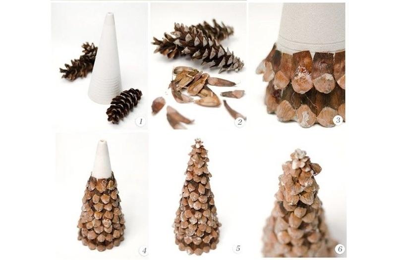 Украшение елочки из чешуек шишки