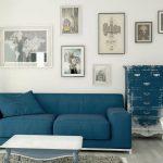 Фото 50: Гостиная в сине-бежевых тонах