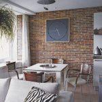 Фото 114: Кирпичная стена на кухне