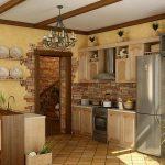 Фото 83: Отделка кухни декоративным камнем своими руками