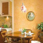 Фото 69: Отделка стен на кухне декоративной штукатуркой