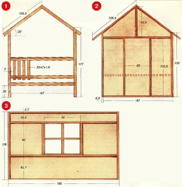 Схема размеров детского домика